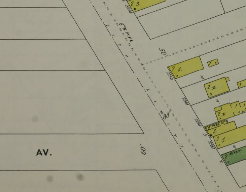 1896 Sanborn of Cleveland displaying a city boundary line at St. Clair Ave